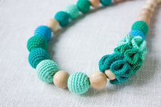 Teething necklace/ Nursing necklace for breastfeeding Mommy  - teal turquoise mint colors - cotton yarn wood bead MADE TO ORDER on Etsy, $33.90