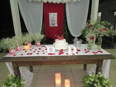 mesa do bolo do noivado de D&D