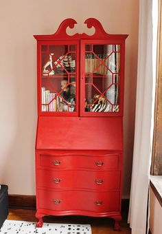 red vintage secretary hutch, we have this exaaaactly hutch in the Main hall