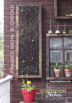 DIY Tutorial for creating an easy vertical garden of hen and chicks (succulents) via Inspired by Charm! garden-ideas
