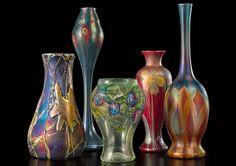 Tiffany Studios, New York, Iridescent Favrile Glass Vases.