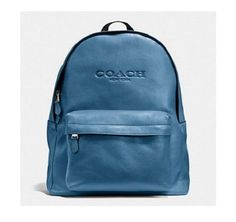 New COACH 72120 Men's or Woman's Saddle Leather Backpack Bag Slate BLUE Leather in Clothing, Shoes & Accessories, Men's Accessories, Backpacks, Bags & Briefcases | eBay
