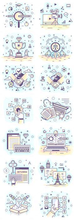 by Crocolot on Creative Mini Illustration. by Crocolot on Creative Market 28 Mini Illustration. by Crocolot on Creative Market - Line Design, Icon Design, Design Art, Web Design, Graphic Design, Flat Design, Outline Illustration, Business Illustration, Digital Illustration
