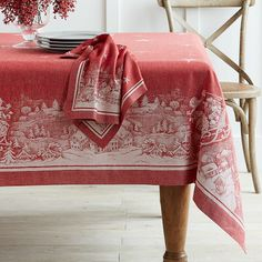 St. Nick Jacquard Tablecloth. I looove this