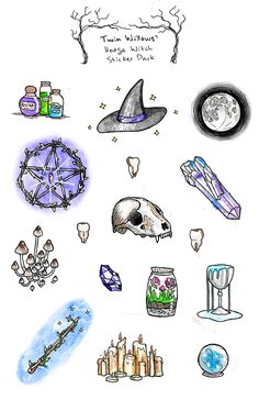 "5.5""+x+8.5""+sticker+sheet+with+16+unique+stickers+of+magick-themed+watercolour+and+ink+illustrations."