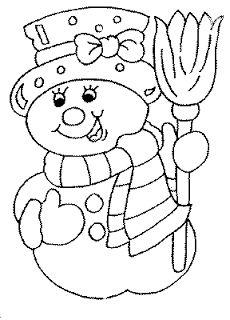 Dibujos para imprimir y colorear: Muñeco de Nieve para colorear