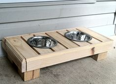 Reclaimed rustic pallet furniture dog bowl stand pet by Kustomwood, $49.99