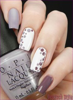 Gray plum and white nail polish combination. Design your nails with white and pl The post Gray plum and white nail polish combination. Design your nails with white and pl appeared first on Nageldesign. Easy Nails, Simple Nails, Cute Nails, Easy Diy Nail Art, Simple Nail Design, Fall Nail Art Designs, Nail Polish Designs, Tan Nail Designs, Classy Nail Designs