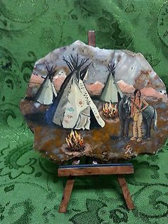 PAINTING-OF-INDIAN-WITH-HORSE-TEEPEES-ON-SLAB-OF-POLISHED-AGATE-ROCK-STAND
