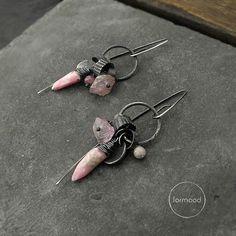 Earrings raw sterling silver rhodochrosite pink by studioformood