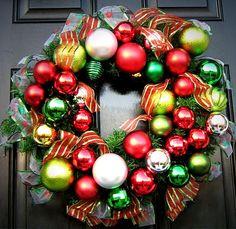 Ribbon and ornament wreath 2