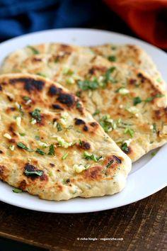 Garlic flatbread recipe No Yeast. This easy garlic herb flatbread has no yeast, doesn't need hours to rest, and has a secret ingredient. | VeganRicha.com #vegan #flatbread #recipe