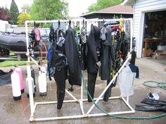 Scuba gear drying rack