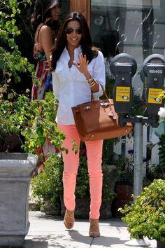 peach pants and classic white shirt