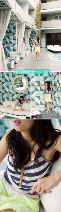 Blogger @Joy Cho / Oh Joy! mixing colors and prints by the pool at Avalon Beverly Hills! #splendidsummer