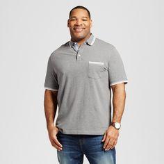 Men's Big & Tall Tipped Collar Club Polo Shirt Gray 2XB Tall - Merona