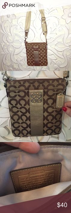Gold Coach Crossbody Purse This gold Coach crossbody bag (the strap fully extends) is in amazing condition! The exterior has shimmery gold accents and the interior is a light lilac! Coach Bags Crossbody Bags