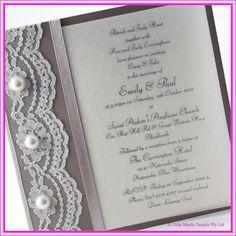 DIY Wedding Invitation -  Lace & Pearls