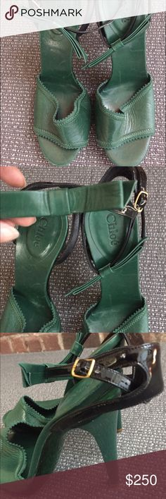 Authentic Chloe stiletto sandal Amazing authentic green and black Chloe sandal with green leather bow on ankle strap. Never worn! Chloe Shoes Heels