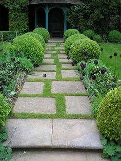 aménagement allée de jardin en dalles carrées