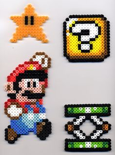 Block, and Trampoline from Super Mario World done in Perler Beads. Starman glows in the dark! Mario, etc. in Perler Beads Hama Beads Mario, Perler Beads, Perler Bead Mario, Fuse Beads, Perler Bead Designs, Hama Beads Design, Pearler Bead Patterns, Perler Patterns, Yoshi