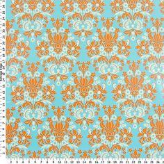 Bella Citrus Collection - Orange Damask on Laminated Cotton Fabric