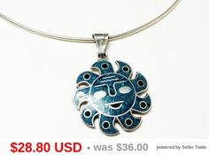 Sterling Silver Sun Face Pendant Necklace - Inset Turquoise Chips & Black Onyx - Signed Choker - Mexican Silver