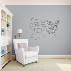 outlined united states map with optional fill in states wall decal custom vinyl art stickers for schools classrooms libraries