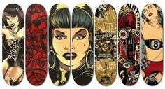 #Incredible Skateboard Deck Design Examples For Your Inspiration. #Check out these creatively designed skateboard deck art examples and see how crative people are