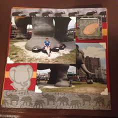 Lucy the Elephant, Margate NJ, side and me sitting on foot; Page 6: This a 8 by 8 scrapbook page featuring elephant/safari themed paper, pocket to hold penny and elephant made with Cricut ZooBalloo cartridge