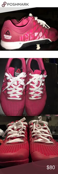 Red CROSSFIT women's size 8 EUC Burgundy, red, white & black REEBOK CROSSFIT shoes, in Excellent used condition, a few tiny scuffs on toe but few marks on the inside of the heels, as shown in last photo! Comfortable and cute & can be worn for any athletic activity !! Reebok Shoes Athletic Shoes