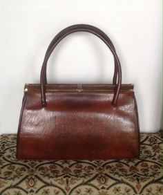 2884c2466c Vintage Brown Leather Handbag. Kelly Leather Handbag by Sable. 1950 s 60 s
