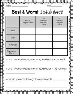 FREE insulators recording sheet!  Excellent lesson plan!