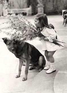 Helga Goebbels and Adolf Hitlers' dog.