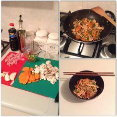 Pork, veggies & noodle stir fry. With a little kick of chilli. #yum