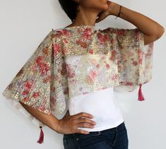 Floral Shrug Top Tunic, Poncho Flower Patterned Sheer Lace Fabric, Multicolored, Spring Women Fashion