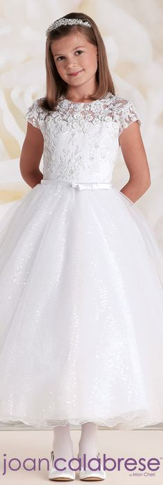 First Communion dresses in the Joan Calabrese Collection by Mon Cheri are available in ball gown, fit and flare, or A-line dress styles. Featuring traditional white dresses with sleeveless or short-sleeved options. Designer First Communion Dresses, Girls Designer Dresses, Holy Communion Dresses, Little Girl Dresses, Girls Dresses, Flower Girl Dresses, Flower Girls, Nice Dresses, Ball Gown Dresses