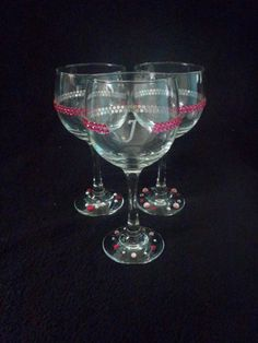 Personalized Hot Pink Blingtastic Wine Glasses