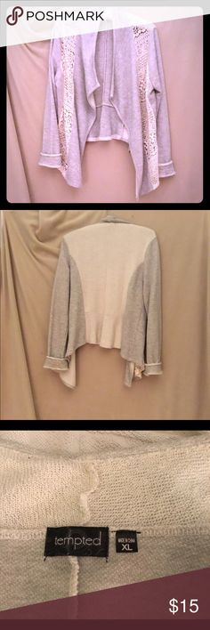 Long sleeve pale gray sweater, size XL Sweater is pale gray and cream with lace panels on the side. 60/40 cotton/poly,  machine wash. 22 inches from bottom of collar to bottom of hem in the back. Tempted Sweaters Cardigans