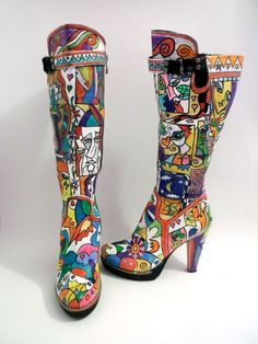 Hand painted knee high boots by FashionTaboo on Etsy, $170.00