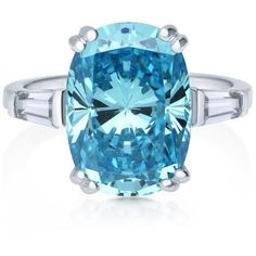 BERRICLE Sterling Silver Cushion Blue Cubic Zirconia CZ Solitaire... (185 PEN) ❤ liked on Polyvore featuring jewelry, rings, sterling silver cz rings, sterling silver statement rings, cz band ring, cz rings and sterling silver cocktail rings