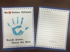 Say 'Thank You' to a police officer with this Helping Hands printable. There are five different sayings all with a place to paint, draw, or color a hand or picture. There is also a thank you note for students to write to an officer. We glue them front/back on construction paper before we send them down to the station.