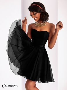Clarisse Prom 3215 Black Strapless Short Homecoming Dress