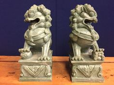 Pair Feng Shui Fierce Chinese Fu Foo Dogs Lion Protectors in Antiques, Asian Antiques, China | eBay