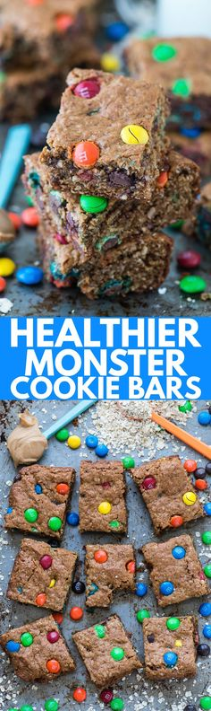 The BEST healthier monster cookie bars with no oil, butter, flour or sugar! Use coconut sugar or honey instead! Makes an 8×8 square pan so you don't have too many around!: