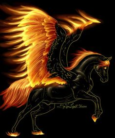 Unicorn on fire but actually Pegasus. Unicorn has a horn but it might be called a corn! Fantasy Kunst, Fantasy Art, Photo Pokémon, Fire Art, Unicorn Art, Black Unicorn, Mythological Creatures, Magical Creatures, Fantasy World