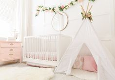 13 Blush Pink and Grey Nursery Inspirations for a Baby Girl – Just Simply Mom - Kinderzimmer Baby Girl Nursery Pink And Grey, Blush Nursery, Baby Girl Nursery Themes, White Nursery, Baby Room Decor, Nursery Room, Nursery Ideas, Room Ideas, Princess Nursery