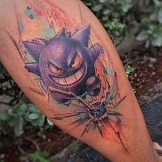 Pokemon #jeanalvarezstyle @radiantcolorsink @miamitattooco #gengar #watercolor