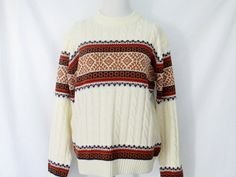 1970's Fair Isle Sweater Vintage Cable Knit by ChinaCatVintage
