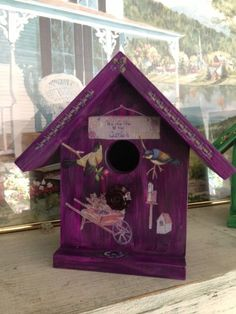 Handcrafted Decorative Birdhouse  Dark Purple by Bloomsbotanicals, $70.00